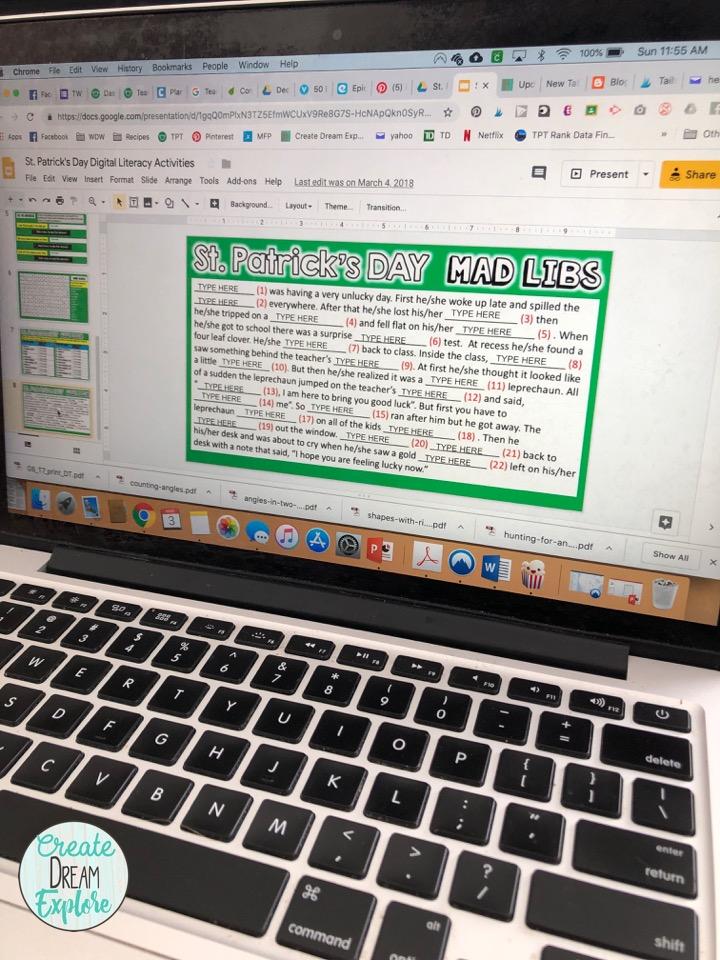 digital st patricks day google slides classroom activities