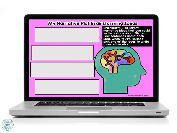 digital google slides narrative story writing graphic organizer distance learning
