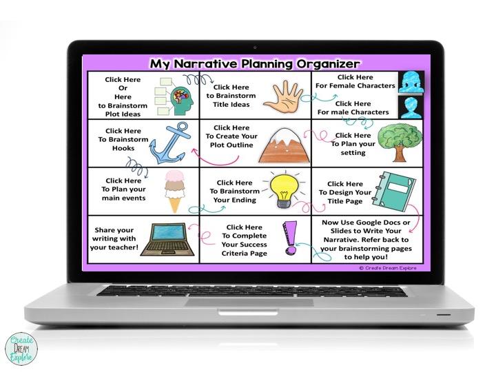 digital writing graphic organizer narrative story